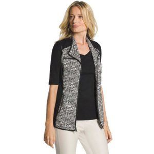 NWT Chico's Black White Dot Jacquard Pattern Vest